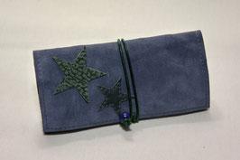 Tabaktasche aus Leder mit Sternen - blau/grün