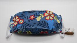 Maske Gr. S Blau mit Blumen