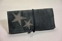 Tabaktasche aus Leder mit Sternen - grau Denim/grau