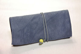 Tabaktasche aus Leder - graublau rau/pastelloliv