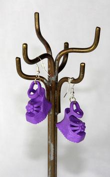 Ohrringe - Lila Plateau-Schuhe mit Riemchen & Blume