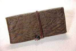 Tabaktasche aus Leder - dunkelbraun gemustert/braun