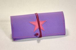 Tabaktasche aus Kunstleder mit Stern - lavendel/rosa
