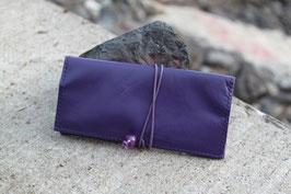 Tabaktasche aus Leder und Kunstleder - lila/lavendel - Kunststoffperlen