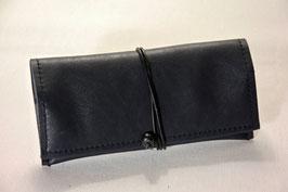 Tabaktasche aus Leder - schwarz/grau Denim