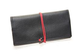 Tabaktasche aus Kunstleder - schwarz/rot