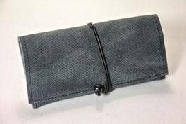 Tabaktasche aus Leder - grau Denim/schwarz