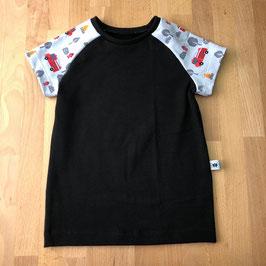 T-Shirt uni schwarz mit Motivärmel