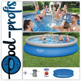 BESTWAY Fast Set Pool Swimmingpool Rundpool Filterpumpe Abdeckung 457 x 84 cm