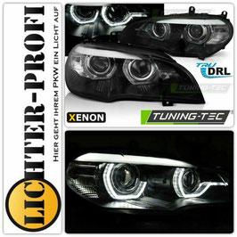 Led Tagfahrlicht 3D Angel Eyes Xenon Scheinwerfer mit und ohne AFS schwarz für BMW X5 E70 Baujahr 2007 - 2010