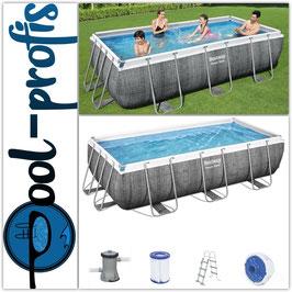 BESTWAY Power Steel Frame Pool Filteranlage Leiter Dosierer 404 x 201 x 100cm