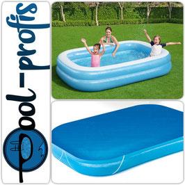 BESTWAY Jumbo Pool Swimmingpool Planschbecken Kinderpool + Abdeckung 262 x 175 cm