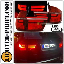 Led Lightbar Rückleuchten rot weiß  für BMW X5 E70 Baujahr 2007 - 2010