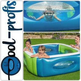 BESTWAY Pool Family Windows Swimmingpool Planschbecken 168 x 168 x 56cm