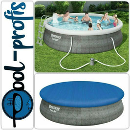 BESTWAY Pool Swimmingpool Set Rattan Optik Filterpumpe Leiter Abdeckung 457 x 107 cm