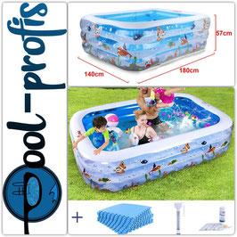 Kinder Pool NEMO 180x140x60cm + Schutzmatte + Thermometer + Wassertester