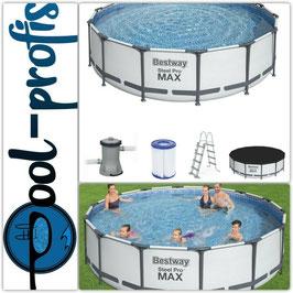BESTWAY Steel Pro MAX Pool Swimmingpool rund weiß Pumpe Leiter Cover 427 x 107 cm
