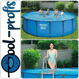 BESTWAY Steel Pro Frame Pool Swimmingpool Filterumpe Leiter Abdeckung 457 x 122cm
