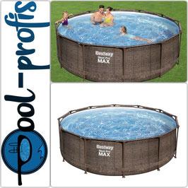 BESTWAY Steel Pro Max Frame Pool Set rund Filterpumpe Leiter braun 366 x 100 cm