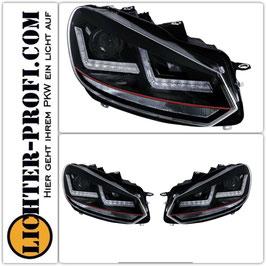 OSRAM LEDriving® Xenarc® VOLL LED Tagfahrlicht Scheinwerfer schwarz GTI Optik für VW Golf 6 VI Baujahr 2008 - 2013