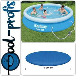 BESTWAY Fast Set Pool Swimmingpool Rund + Filterpumpe + Abdeckung 366x76 cm