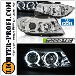 CCFL LED Angel Eyes Scheinwerfer chrom für BMW E90 E91 Limo Touring Baujahr 2005-08