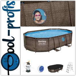 BESTWAY Power Steel Vista Pool Swimmingpool Rattan Optik + Zubehör 488x305x107cm