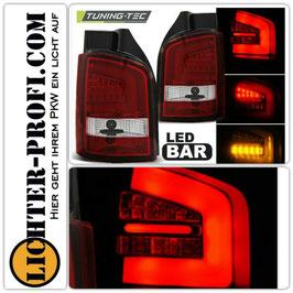Led Lightbar Rückleuchten rot weiss für VW T5 Bus Heckklappe Baujahr 2009 - 2015