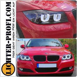 3D LED Angel Eyes Xenon Scheinwerfer mit LED Blinker schwarz für BMW E90 E91 Limo Touring Baujahr 2008-11