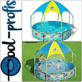BESTWAY Steel Pro Pool Kinder rund Sonnenschutzdach UV Schutz Sprinkler 244 x 51 cm