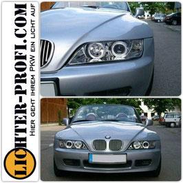 Led Angel Eyes Scheinwerfer in Chrom für BMW Z3 Roadster Coupe Baujahr 1995 - 2003