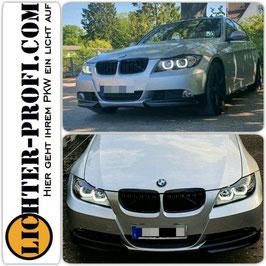 3D LED Angel Eyes Scheinwerfer schwarz für BMW E90 E91 Limo Touring Baujahr 2005-08