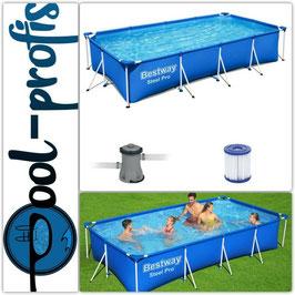 BESTWAY Steel Pro Pool Swimmingpool Set Filterpumpe Kartusche 400 x 211 x 81 cm