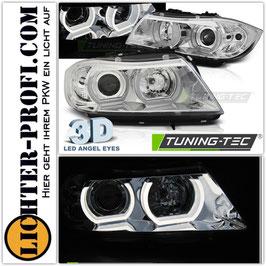 3D LED Angel Eyes Scheinwerfer chrom für BMW E90 E91 Limo Touring Baujahr 2005-08