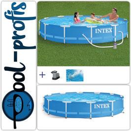 INTEX Metal Frame Pool Swimmingpool mit Filterpumpe 366 x 76 cm