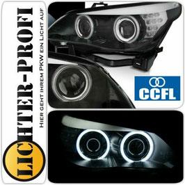 CCFL Angel Eyes Scheinwerfer in Schwarz für BMW E60 E61 Limousine Touring Baujahr 2003 - 2007