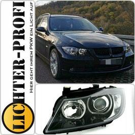 LED Angel Eyes Scheinwerfer schwarz für BMW E90 E91 Limo Touring Baujahr 2005-08
