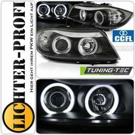 CCFL LED Angel Eyes Scheinwerfer schwarz für BMW E90 E91 Limo Touring Baujahr 2005-08