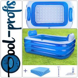 RELAX Pool Kopfstützen 1xCup 140x100x60 + Schutzmatte Thermometer Wasserteste
