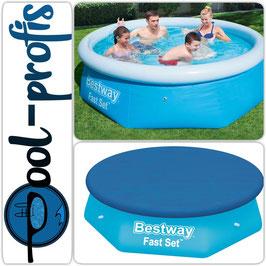 BESTWAY Fast Set Pool Swimmingpool Rund Abdeckung 244 x 66 cm