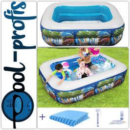 Kinder Pool HAWAII 110 x 80 x 35cm + Schutzmatte + Thermometer + Wassertester