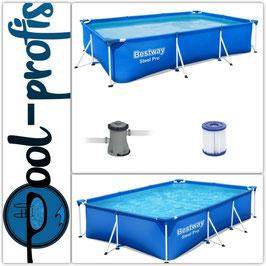 BESTWAY Steel Pro Frame Pool Swimmingpool Filterpumpe rechteckig 300 x 201 x 66 cm