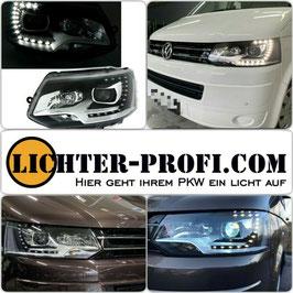 Led Tagfahrlicht Scheinwerfer schwarz für VW T5 Bus Baujahr 2009 - 2015