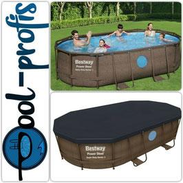 BESTWAY Power Stahl Vista Pool Swimmingpool Rattan Filterpumpe Leiter Abdeckung 427 x 250 x 100 cm