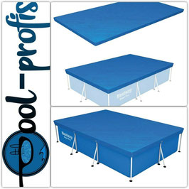 BESTWAY Pool Abdeckung rechteckig Schutz Plane blau Swimmingpool Cover 300 x 201 cm