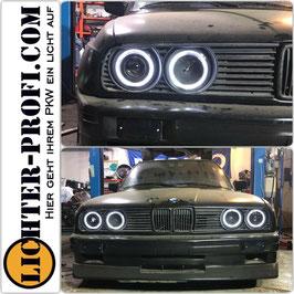 Led Angel Eyes Scheinwerfer schwarz für BMW 3er E30 Baujahr 1982 - 1994