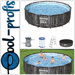 BESTWAY Steel Pro MAX Pool Swimmingpool rund Holz Pumpe Leiter Cover 427x107cm