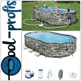 BESTWAY Power Steel Comfort Jet Pool oval Pumpe Leiter Massage 610 x 366 x 122 cm