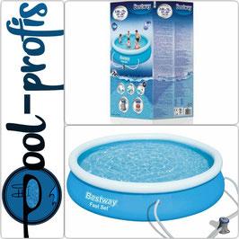 BESTWAY Fast Set Pool Swimmingpool Rund + Filterpumpe 366x76 cm