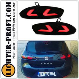 Voll Led Lightbar Rückleuchten schwarz für Seat Leon 1P Baujahr 2005 - 2008